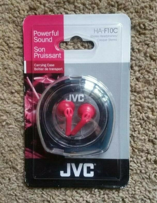JVC In-Ear Stereo Pink Headphones , Carrying Case & Tangle-f