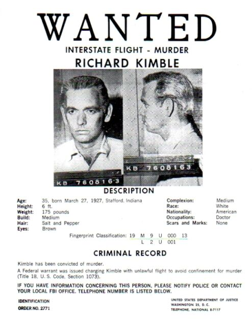 The Fugitive TV Series Wanted Poster David Jansen Very Detailed – Wanted Criminal Poster