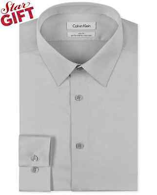 $76 CALVIN KLEIN Mens GRAY SOLID SLIM-FIT CASUAL DRESS SHIRT SIZE 16 32/33