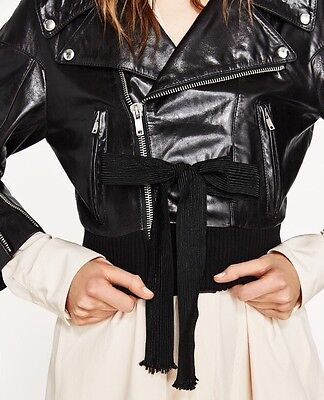 RARE Zara Studio Leather Jacket With Front Bow. Spring/Summer 2017. Size XS-S for sale  Shipping to Canada
