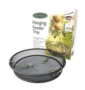 Hanging Tray Wild Bird Feeder by Oak Dale Mesh Dish Seeds Nuts Fat Balls