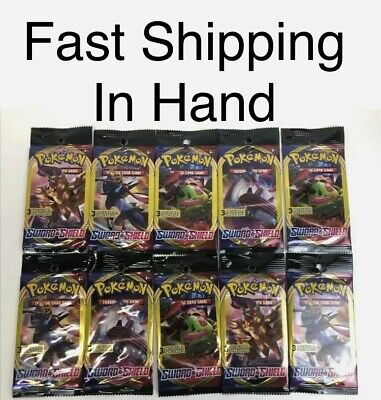 10 Pokemon Sword And Shield 3 Card Booster Packs Unopened Lot Expansion In