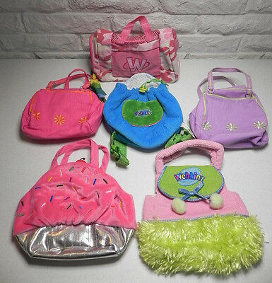 WEBKINZ 6 Pet Carriers Stuffed Animal Knapsack Purse Cupcake Funky Flower Camo