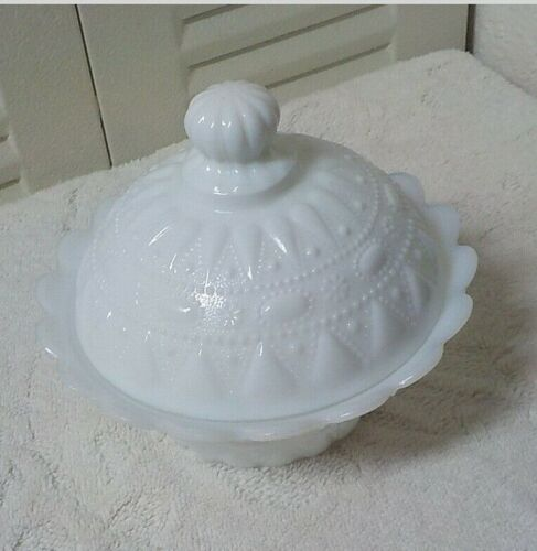 Kemple White Milk Glass Lace and Dewdrop Covered Dish