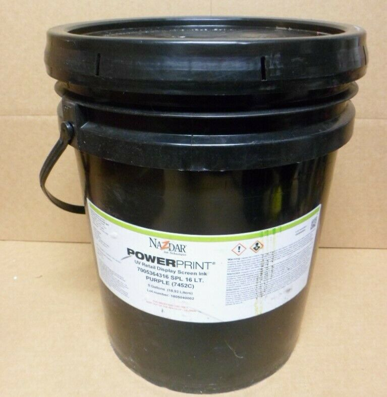 Nazdar PowerPrint UV Retail Display Screen Ink Purple 5 Gallon Bucket 7452C