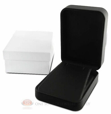 Black Leather Metal Pendant Earring Jewelry Gift Box 2 34w X 4d X 1 38h