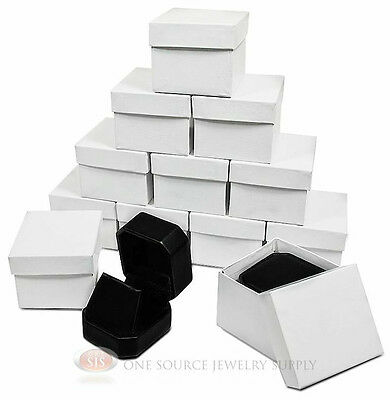 12 Piece Black Leather Pendant Earring Jewelry Gift Boxes 1 78 X 2 X 1 58