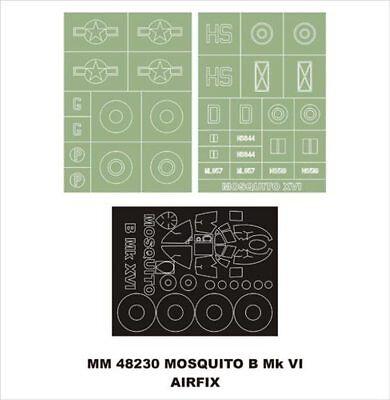 Montex Maxi Mask 1:48 D.H.Mosquito B MKXVI for Airfix 7112 Stencil MM48230