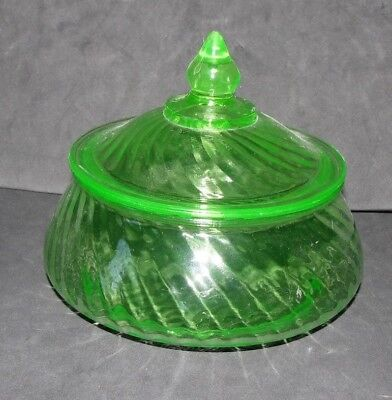 GREEN DEPRESSION GLASS CANDY DISH with LID SPIRAL PATTERN