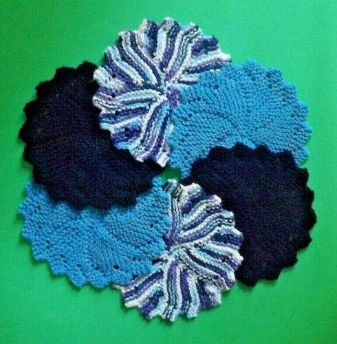 Dishcloths Set of 6 * MOON DANCE * Round Knit USA Grown 100% Cotton - Free Ship
