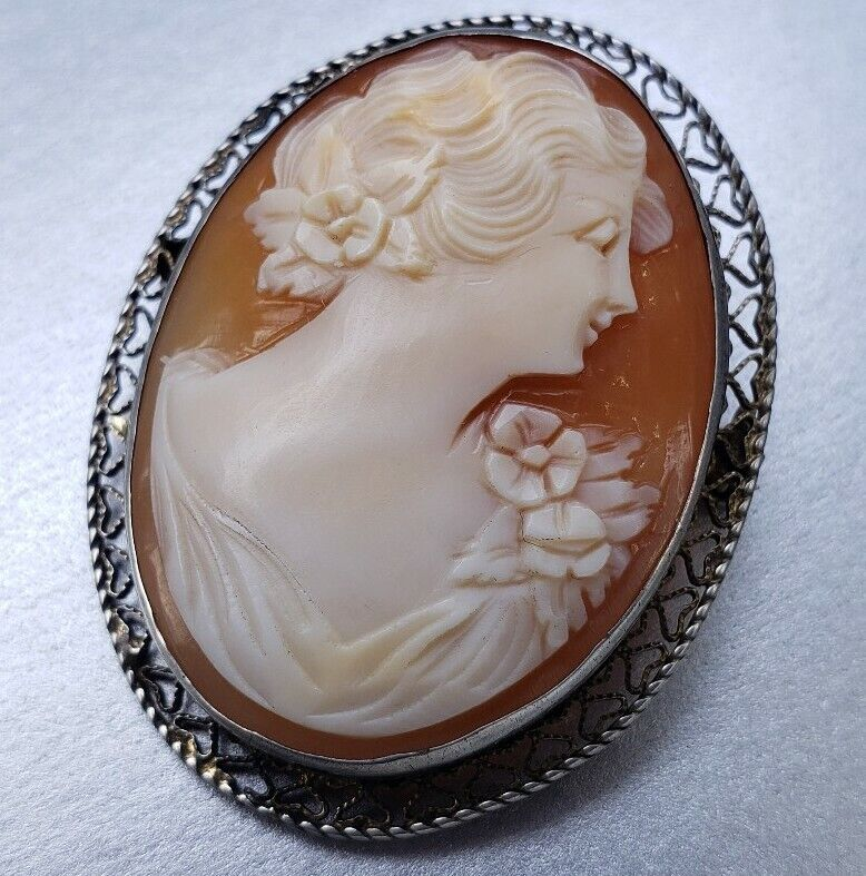 Fine Vintage Sterling Silver Filigree Genuine Carved Cameo Brooch Pin