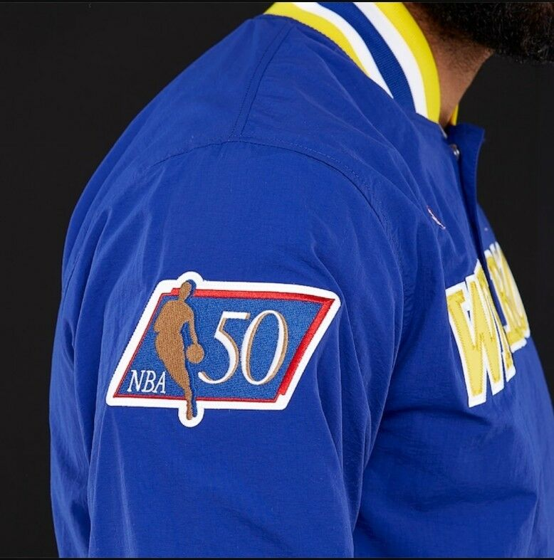 a5b91bc2ef7 Authentic Mitchell Ness Royal Blue Golden state Warriors Vintage warm-up  Jacket