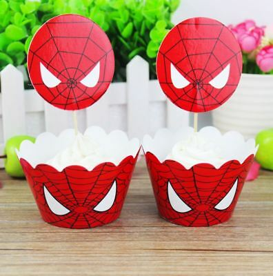 Spiderman Cupcake Wrappers (Cupcake Wrappers Decoration Spider Man Theme Events Kids Favors 24pcs)