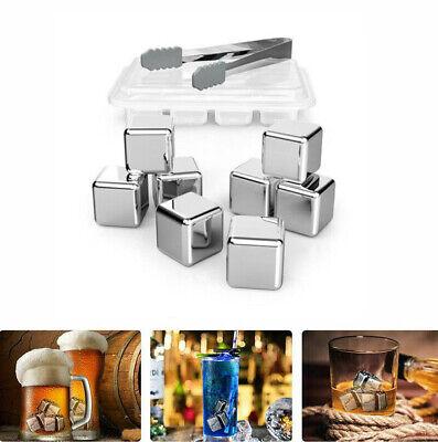8x Edelstahl Eiswürfel Whisky Steine Ice Cube Kühlsteine + Zange Silber NEU