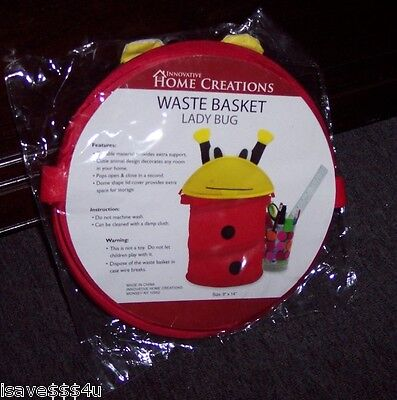 NEW LADY BUG  POP-UP WASTE BASKET / STORAGE BASKET  BY INNOVATIVE HOME CREATIONS