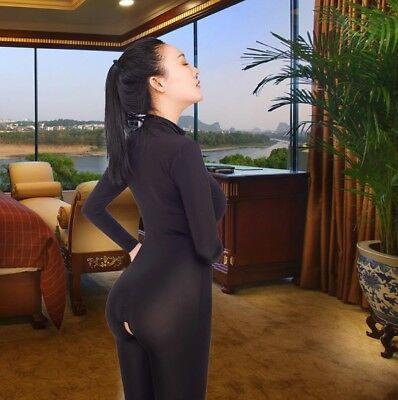 Damen Durchsichtig Netz Superheld Catsuit Catwoman Körperstrumpf Kostüm - Superheld Kostüm Catwoman