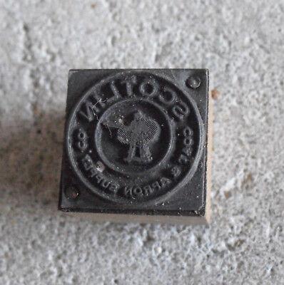 Vintage Scotlin Coats Apron Supply Wood Metal Letterpress Print Block Stamp