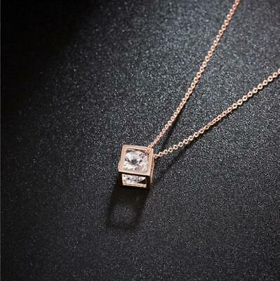 Pave Cube (Pave Cubic Zirconia Cube Rose Gold GP Pendant Chain Necklace )