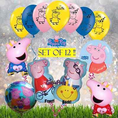 12 Piece Set of Peppa Pig Birthday Party Balloon george latex foil centerpiece (Peppa Pig Birthday Balloons)
