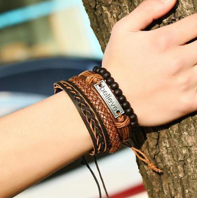 4pc Believe Adjustable Leather Tie Bracelets Charm Braided Men Women Unisex Gift