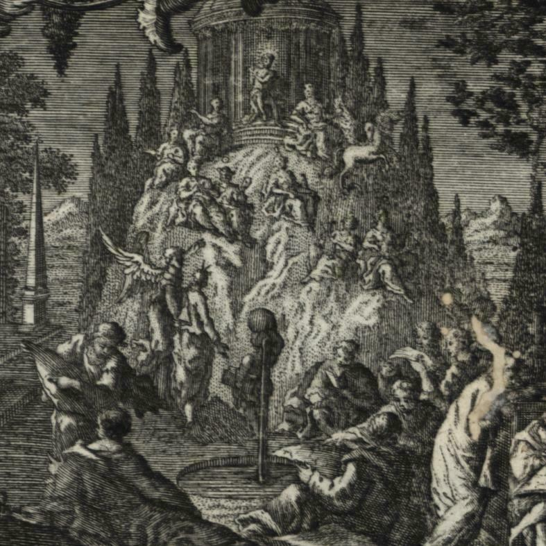 Allegorical Frontis title Page 1762 Lobeck Lotter miniature old engraved print