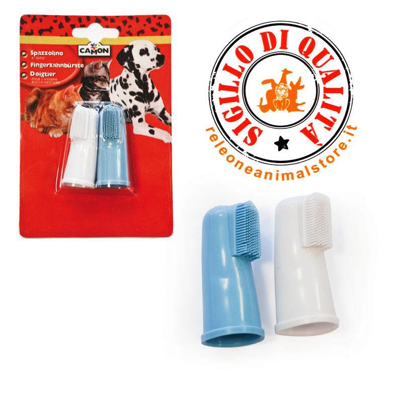 Spazzolino da dito per cani e gatti Camon pz. 2 ingiene dentale pulizia denti