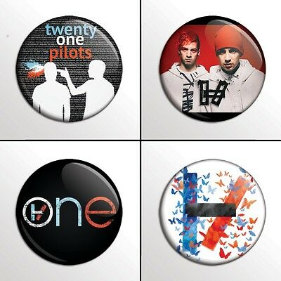 "4-Piece Twenty One Pilots (21, Set 2) 1"" Band Pinback Buttons / Pins / Badge Set"