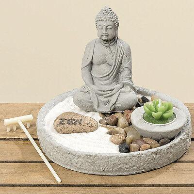 Zen Garten Sury 7tlg Beton grau weiß Buddha Ø 19 cm H 14 cm