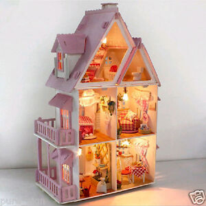 DIY Handcraft Miniature Project Kit Dolls House LED Lights My Pink Little House
