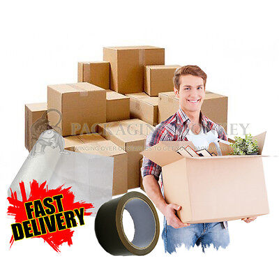 20 LARGE CARDBOARD HOUSE REMOVAL MOVING BOXES KIT WITH BUBBLE TAPE SACKS TISSUE