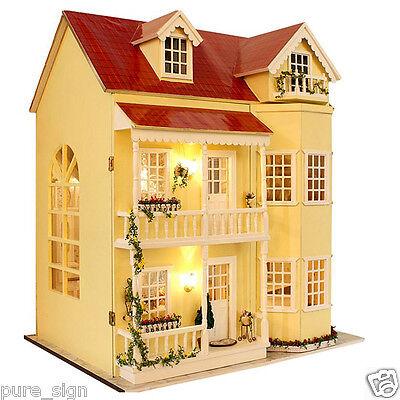 DIY Handcraft Miniature Project Kit Wooden Dolls House LED Lights Music Villa