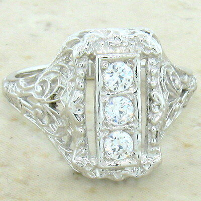 ART DECO ANTIQUE STYLE 925 STERLING SILVER CZ RING SIZE 10,                 #699