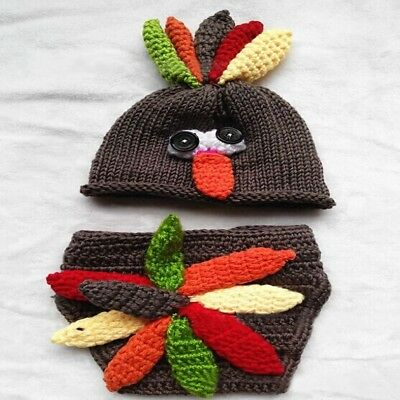 Knitted Hat For Baby Photography Prop Infant Costume Turkey Crochet Hat Diaper