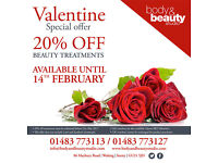 Valentines Day Offer at Body and Beauty Studio, Woking - 01483 773113