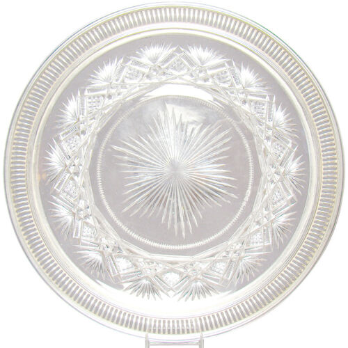 Cut Glass Plate with Sterling Rim - 1890