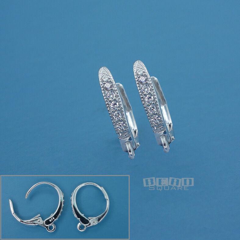 2 Sterling Silver CZ Crystal Lever Back Ear Wire Earrings w/ Open Loop #33538