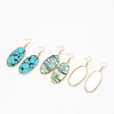 (Designer Inspired Abalone Shell Large Natural Stone Oval Statement Drop Earrings)