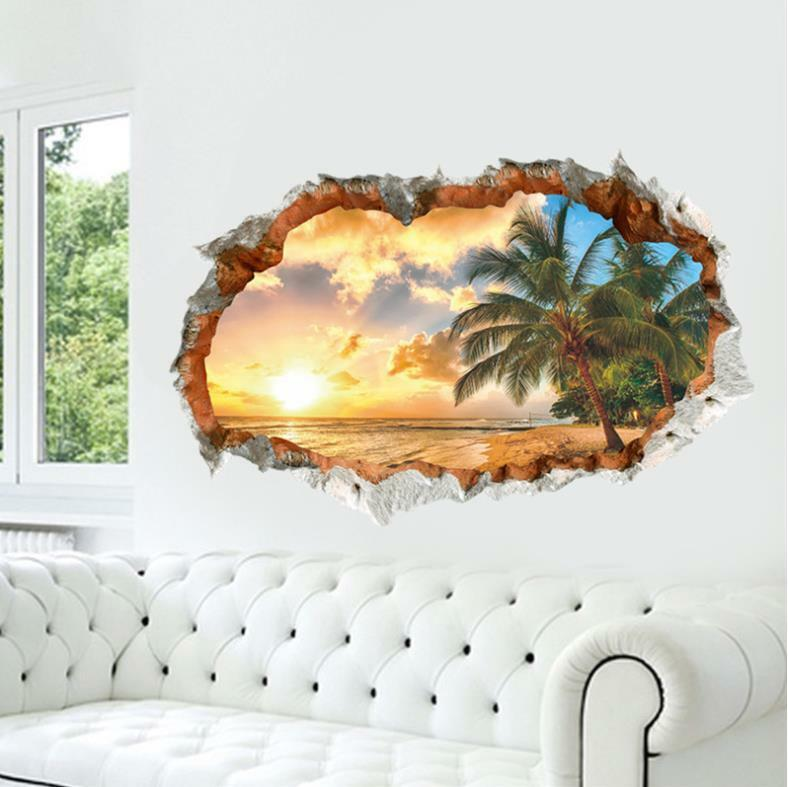 Home Decoration - US 3D Wall Stickers Beach Palm Tree Window Room Decal Wallpaper Removable