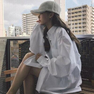 Spring Korean Vintage Women Oversized Casual Loose Button Down Shirt Blouse (Korean Spring)