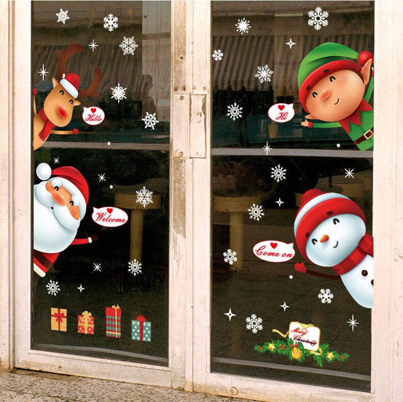 Home Decoration - Large Christmas Snowman Snowflake Santa Wall Decal PVC Window Sticker DecoraXmas