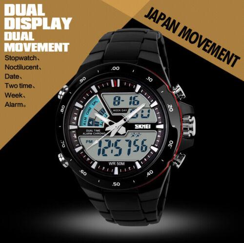 Wasserdichte Herren Damen Armbanduhr schwarz Datumsanzeige Digital Kinder Uhr