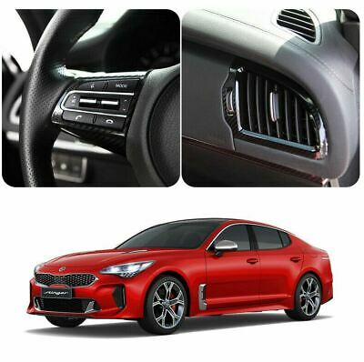 New Interior Carbon Sticker Steering Wheel & Vent for KIA Stinger 17~20 (4 Pcs)