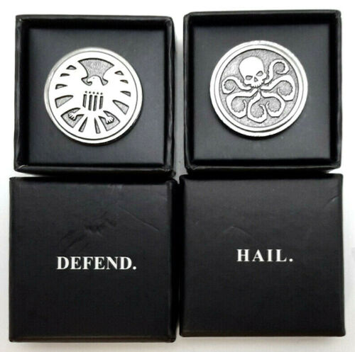 """Hail Hydra & Agents of SHIELD Marvel Gear Goods Deluxe 1"""" Pin Set of 2 w Boxes"""