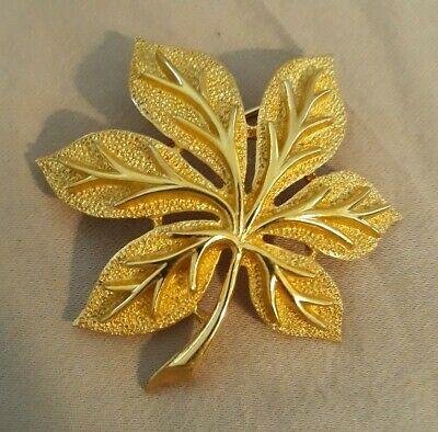 Trifari Brooch Gold Tone Maple Leaf Signed Beautiful Vintage Maple Leaf Brooch