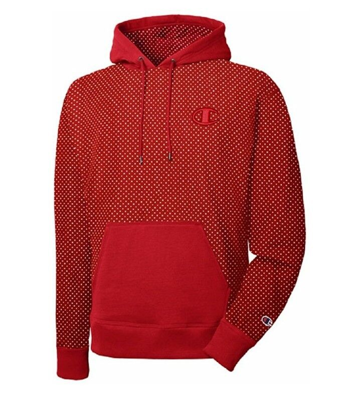 9639c10385a7 Champion Mens Athletic LIFE Super Fleece 2.0 Pullover Hoodie- Red Dotted  print Color