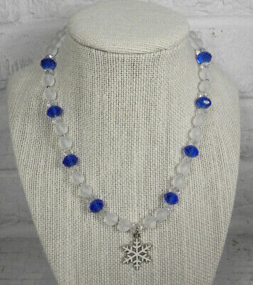 Snowflake Holiday Necklace Frosted Glass Crystal Girls Handmade Blue -