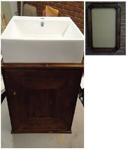 200+yr/old reclaimed wood rustic frame & vanity with modern sink