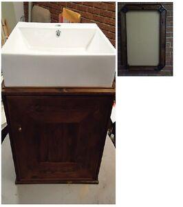 200+yr/old reclaimed wood rustic frame & vanity with modern sink