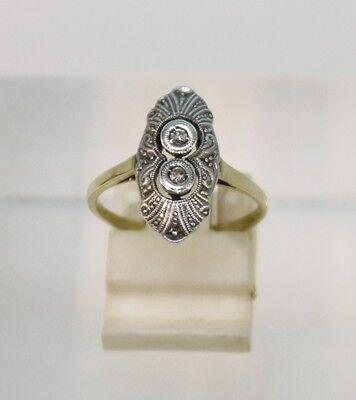 Art Deco Ring mit 2 Diamanten 585 Gold und Silber, Größe 54