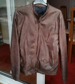 Mens Zara faux leather brown jacket M
